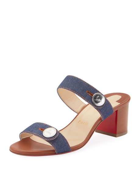 Christian Louboutin Sandenim 55 Red Sole Slide Sandals