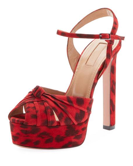 Aquazzura Evita Leopard-Print Suede Platform Sandals