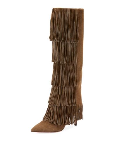 Shake Stretch Fringe Knee Boots