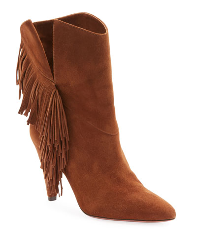 Apache Suede Slit Fringe Booties