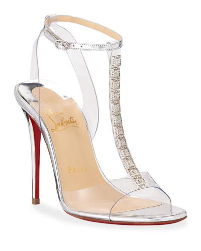 Jamais Assez 100 See-Through Red Sole Sandals