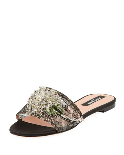 Dandelion Lace Slide Sandals