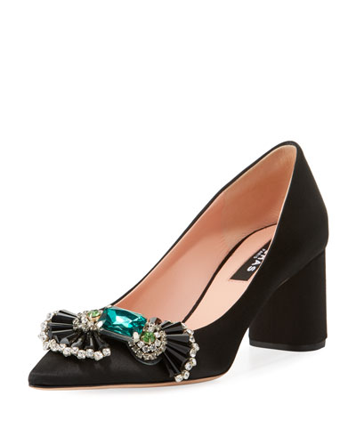 Embellished Satin Block-Heel Pumps