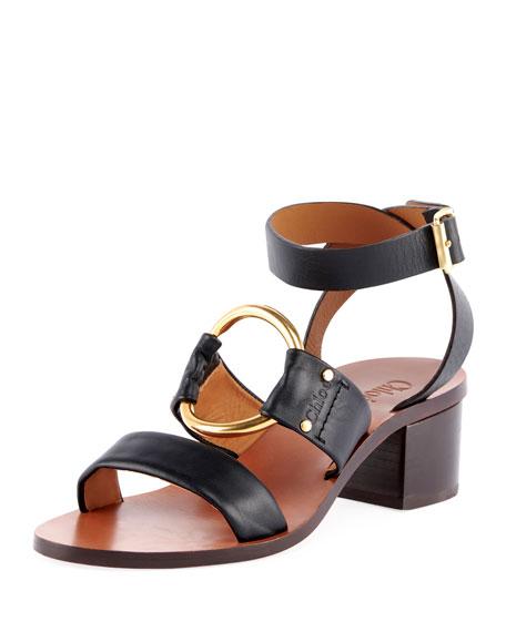 Chloe Slingback Leather Circle Sandals