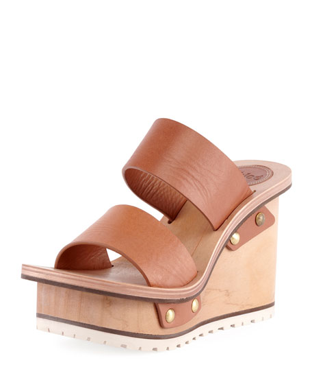 Leather Wedge Mule Sandals, Brown