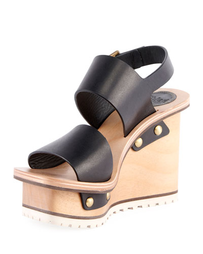 Leather Platform Wedge Sandals, Black