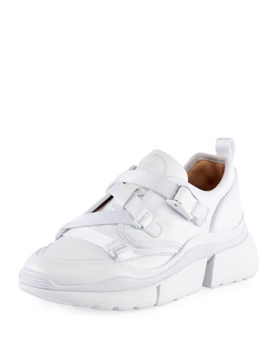 Leather Platform Strapped Sneakers