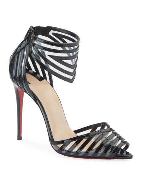 Christian Louboutin Maratena 100 Patent/PVC Red Sole Sandals