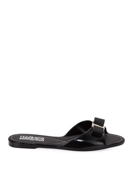 673cacec9e71ed Salvatore Ferragamo Cirella Flat PVC Jelly Bow Slide Sandals