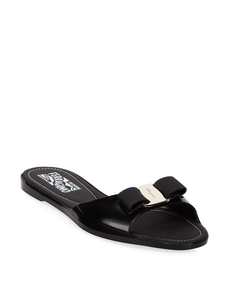 dcf273b694c546 Salvatore Ferragamo Cirella Flat PVC Jelly Bow Slide Sandals