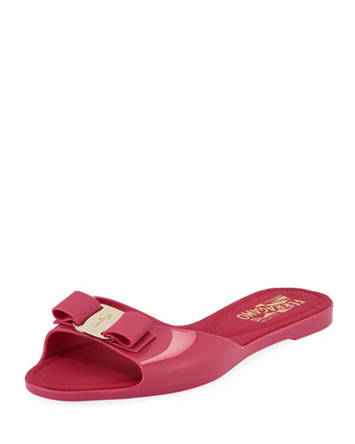 7b84710aa8ff Cirella Flat PVC Jelly Bow Slide Sandals Hot Pink Quick Look. Salvatore  Ferragamo
