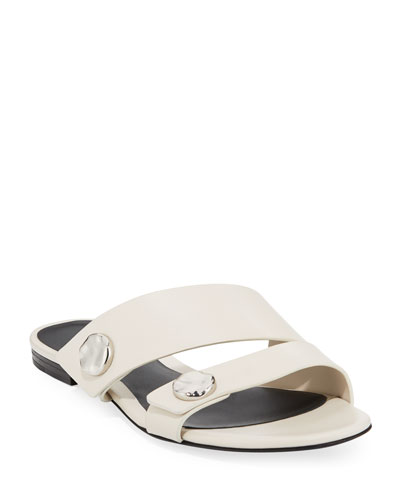 Drum Flat Leather Slide Sandals