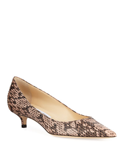 Amelia Pointed Snakeskin Pumps, Pink