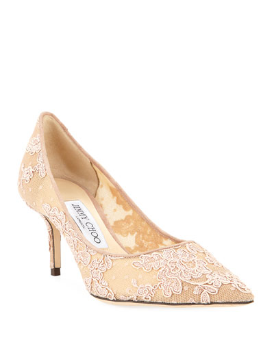 Love Embroidered Mesh Pumps, Pink
