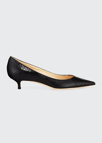 Amelia Snakeskin Pointed Pumps, Black
