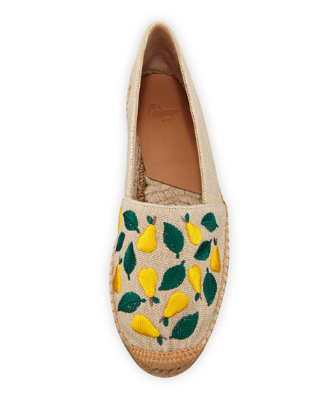 Kendra Flat Slip-On Espadrilles With Embroidery