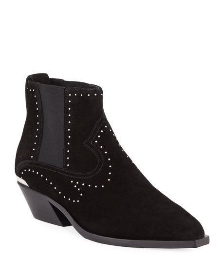 Westin Studded Suede Ankle Boots - Black Size 9.5