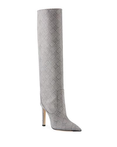 Mavis Plaid Glitter Over-The-Knee Boots