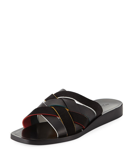 Hartley Woven Flat Sandals in Black Multi