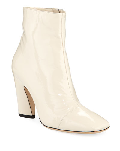 Mirren Shiny 85mm Booties, Off White