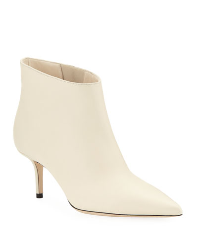 Marinda Smooth Leather Booties, Off White