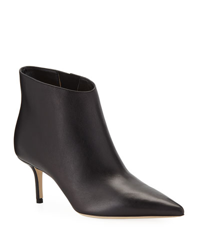 Marinda Smooth Leather Booties, Black
