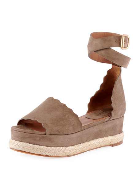 Chloe Scalloped Platform Espadrille Sandals