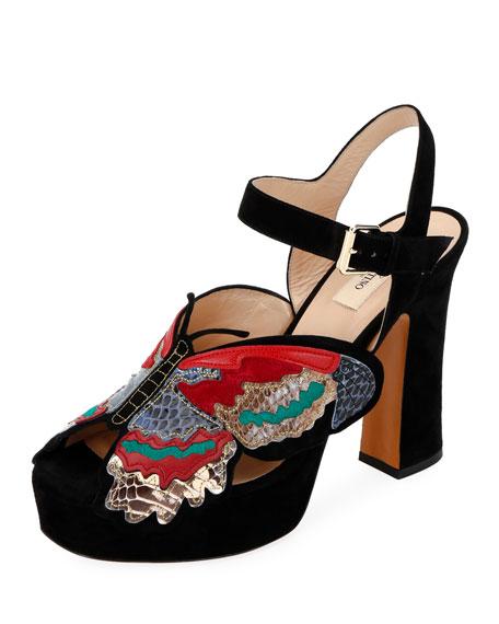 5128d039c9a2 Valentino Garavani Butterfly Suede Platform Sandals