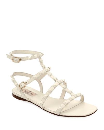9055afc4d23b Rockstud Flat Strappy Leather Sandals (Tonal Hardware) Quick Look. Valentino  Garavani