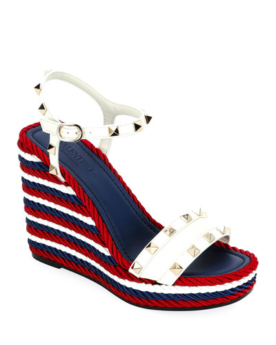 ad763d9f8e8f Rockstud Leather Torchon Wedge Sandals