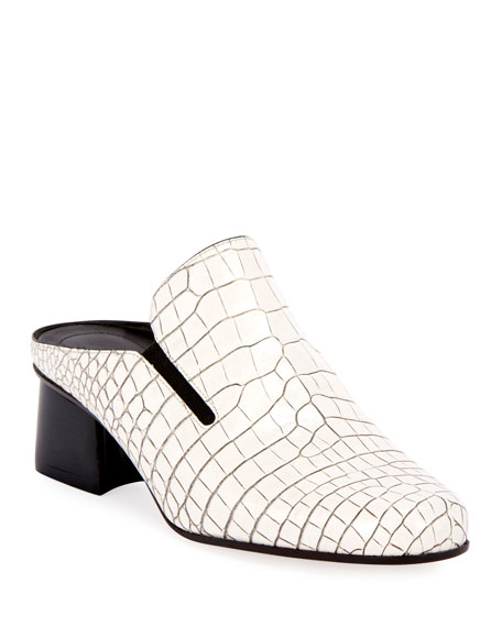 Leather Crocodile Print Mule in White