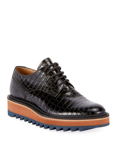 Crocodile-Printed Platform Oxfords with Rubber Sole