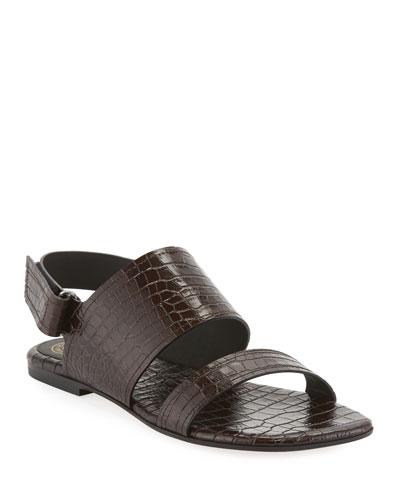 Exotic-Print Calf Flat Sandals