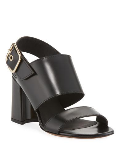 Calf Leather Slingback Sandals
