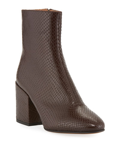 Snake-Embossed Leather Booties