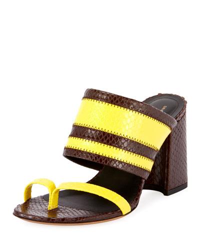 Two-Tone Snake-Print Slide Sandals
