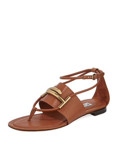 Leather Horsebit Flat Sandals