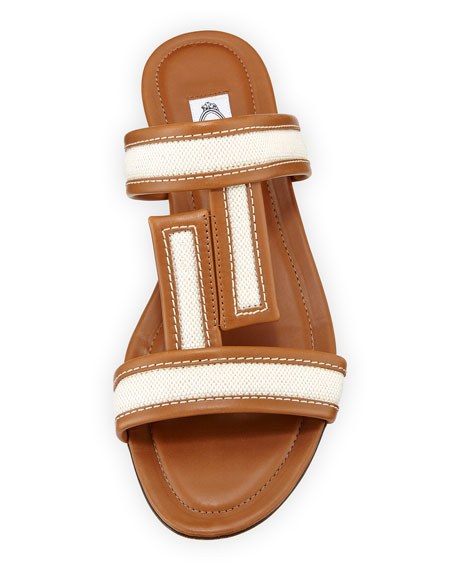 Mixed Canvas and Leather Sandals