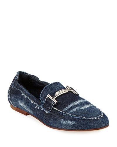 Flat Denim Horsebit Loafers