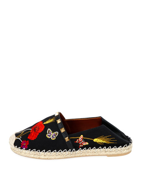 Flower and Butterfly Embroidered Slide Espadrilles