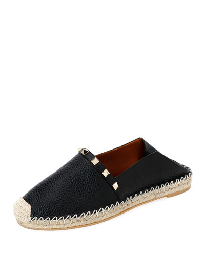 Rockstud Leather Slide Espadrilles
