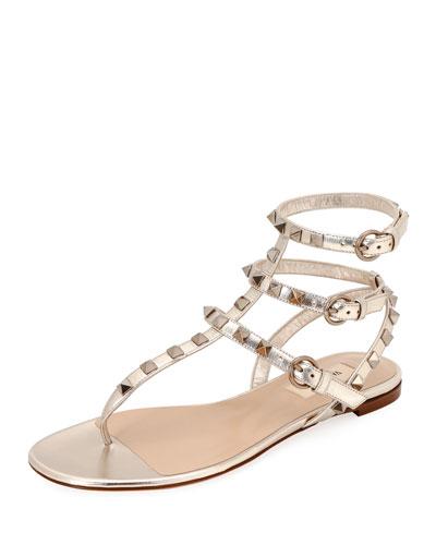 Rockstud Metallic Thong Sandals