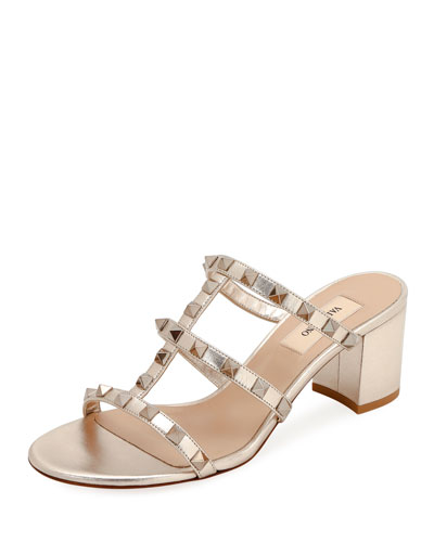Rockstud Metallic Slide Sandals