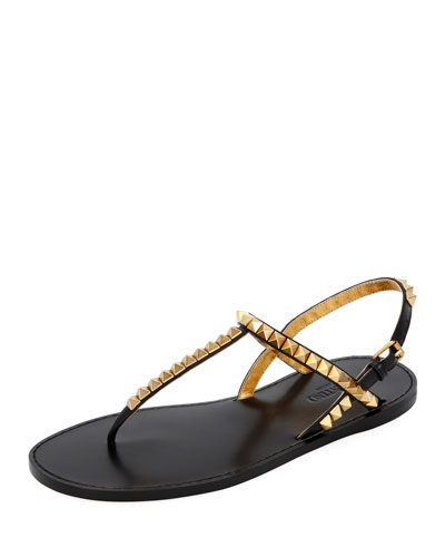 Rockstud Flat T-Strap Thong Sandals - Antiqued Hardware