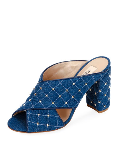 Quilted Cross-Stitched Slide Sandals