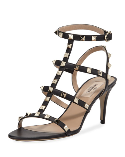 ef47f3414d0 Metallic Leather Mid-Heel Thong Sandals.  695. InCircle Bonus Point Event ·  Rockstud Caged Ankle-Strap Sandals Quick Look. Valentino Garavani