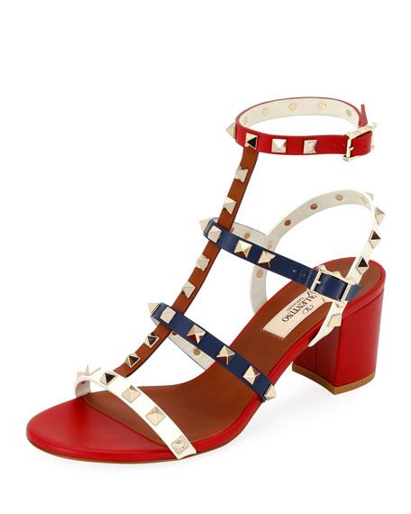 044881e394f Valentino Garavani Rockstud Colorblock Slide Sandals