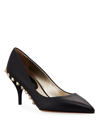 Rockstud Sole Leather Pumps