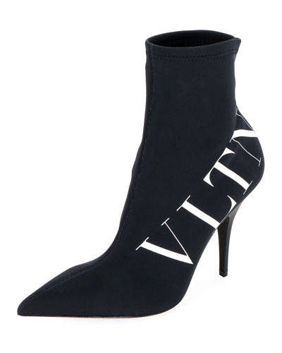 Logo Sock Pointed Booties