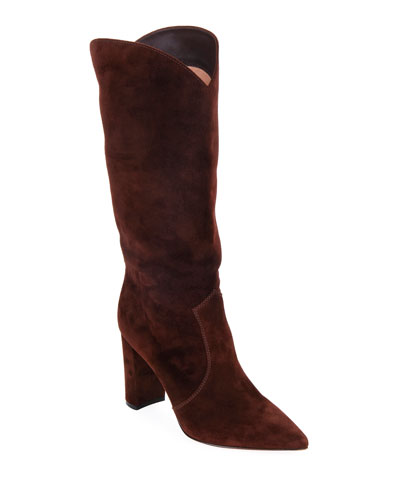 Slouchy Suede Knee Boots, Brown